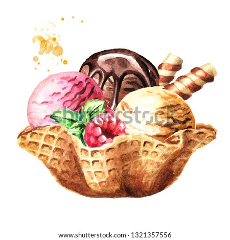 Ice cream scoops with wafer stick in waffle bowl. Watercolor hand drawn illustration, isolated on white background