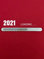 Ice Cream Stick symbol loading waiting for next year 2021 isolated with red background.