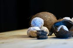 ice cream sweet balls in the style of raffaello and bounty