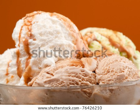 ice cream topped with syrup . closeup