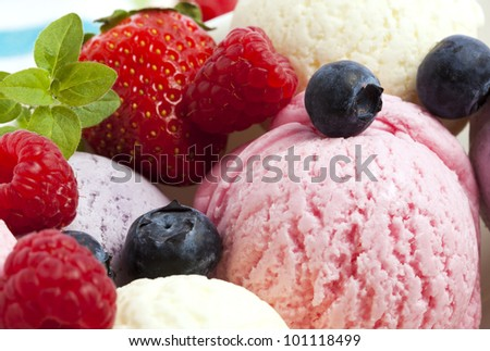 Ice Cream With Blueberries, Raspberries and Strawberries