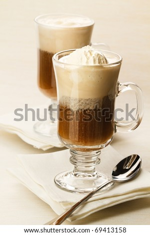 Ice-cream with coffee cocktail in glass