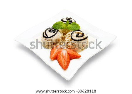 ice cream with coffee flavor on white plate, isolated on a white background