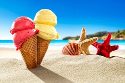 Ice creams on beach and shells with ocean landscape