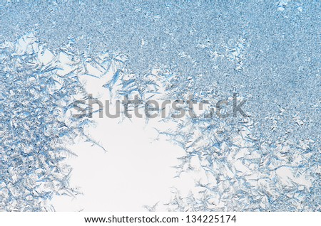 ice crystals on a window , close-up #134225174