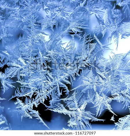 Ice crystals on window in winter #116727097