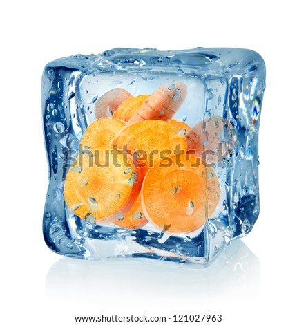 Ice cube and carrot isolated on a white background