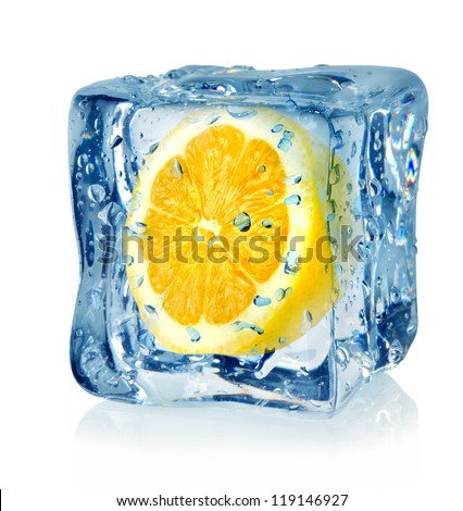 Ice cube and lemon isolated on a white background