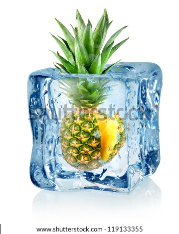 Ice cube and pineapple isolated on a white background - stock photo