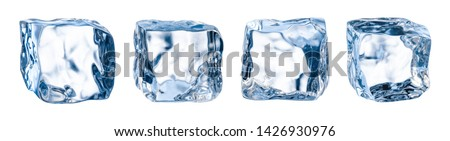 Ice cube. Ice block. Isolated ice cubes set. Clipping path