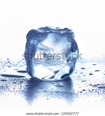 Ice cube isolated on white.