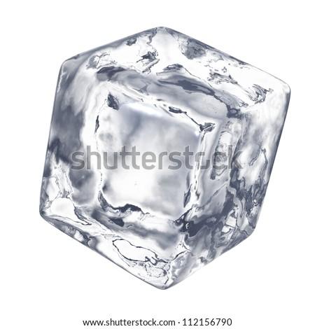Ice cube - isolated on white background