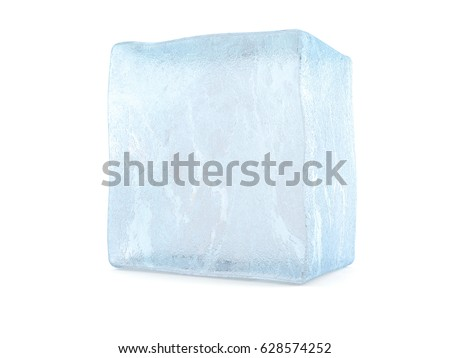 Ice cube isolated on white background. 3d illustration