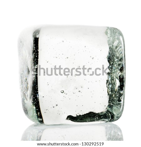 Ice cube on white background