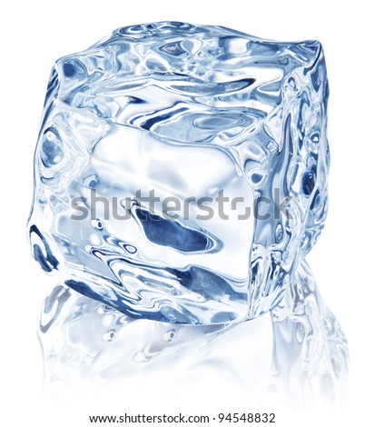 Ice cube on white background. File contains path to cut.