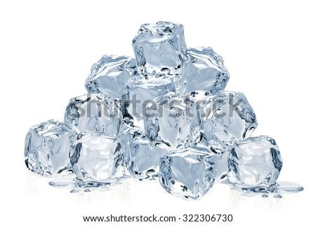Ice cube pile isolated on white background