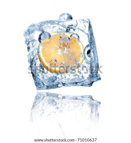 Ice cube with orange isolated on white