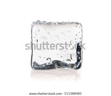 Ice cube with water drops isolated on white