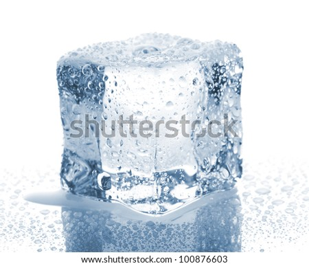Ice cube with water drops isolated on white background