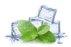 Ice cubes and fresh mint leaves, isolated on white background