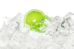 Ice cubes and green lime background.
