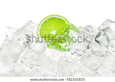 Ice cubes and green lime background. #582101833