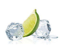 Ice cubes and slice of lime wedge isolated on white background