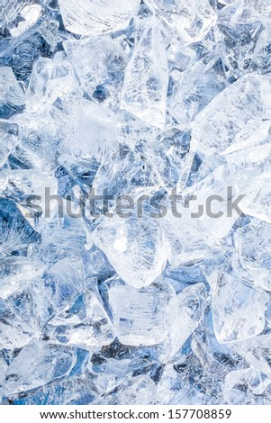 Ice cubes. Blue background