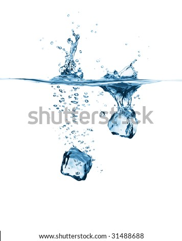 ice cubes drop into water creating splash - stock photo