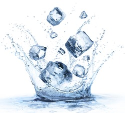 Ice Cubes Fall In Cold Water With Splash - Refreshment Concept