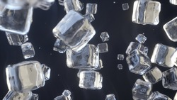 Ice cubes falling on dark blue background. Ice crystals. 3D Render.