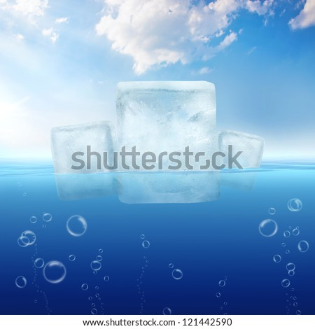 Ice cubes floating in the water