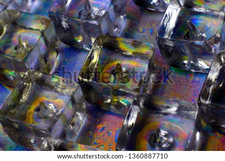 Ice cubes. Ice cubes close up background. Part of set. #1360887710