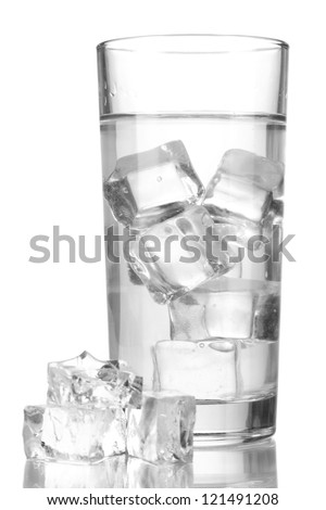Ice cubes in glass isolated on white