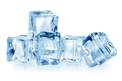 Ice cubes isolated on white. With clipping path