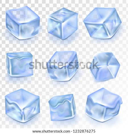 Ice Cubes Isolated Transpatrent. Frost Freeze Design Effect. Clean Cold Crystal. Realistic Blue Ice Water Blocks Set Illustration