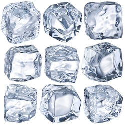 Ice cubes on a white background. File contains clipping path.