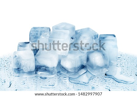 Ice cubes on white glass mirror background with reflection isolated close up, transparent frozen crushed blue ice cubes, clear melted spilled cool water drops, cold fresh drinks ingredient, copy space