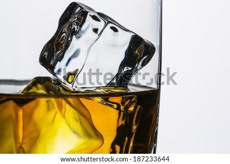 ice cubes rocks in a whiskey glass close-up rocks on white background bourbon rum