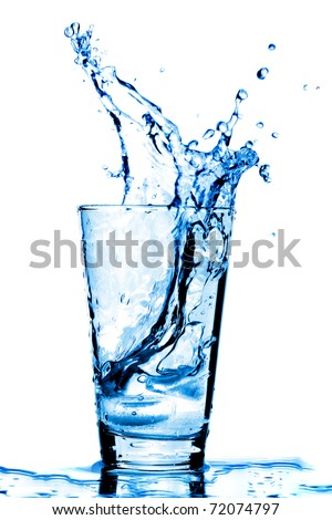 Stock Photo Ice cubes splashing into glass of water, isolated on white