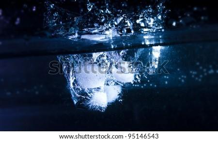 Ice Cubes Water Splash