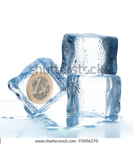 ice cubes with euro coin inside