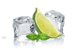 ice cubes with lime / melted ice cubes isolated on white background