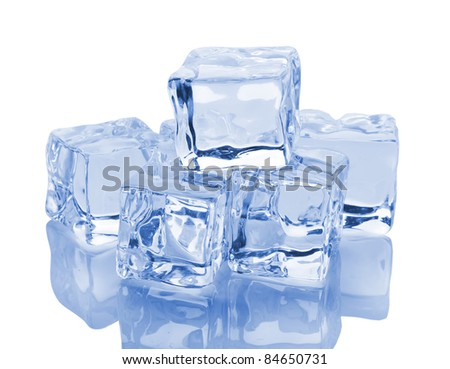 Ice cubes with reflection isolated on white background