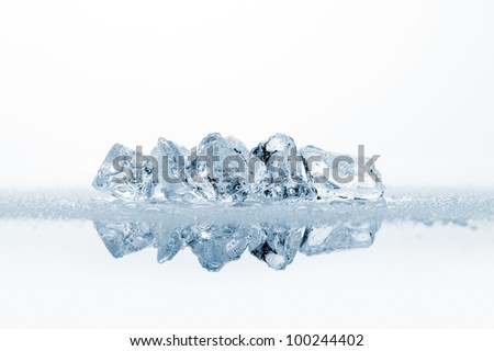 ice cubes with water drops, on white background with reflections