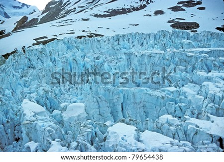 Ice falls of the Muir Glacier in Glacier Bay National Park