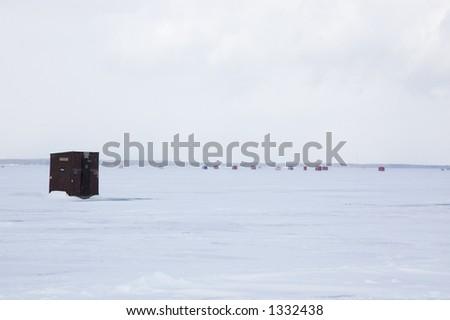 Ice Fishing Huts on Lake Simcoe - stock photo