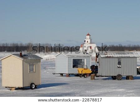 ice fishing huts on the Chenal-du-Moine, Sainte-Anne-de-Sorel Quebec