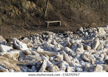 Ice floating on the river in the spring