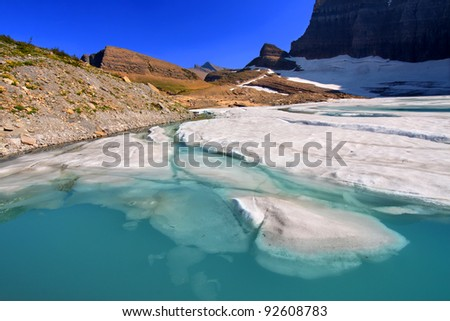 Ice floats in a pond by the Grinnell Glacier in Glacier National Park of Montana